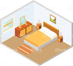 Feng Shui Bedroom Furniture Placement Isometric Bedroom Interior Stock Vector Art 472296779 Istock