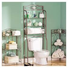 Wicker Shelves Bathroom by Rustic Bathroom With Over Toilet Shelves Brushed Nickel And Iron