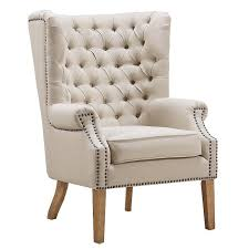 beige linen tufted wing chair