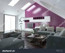 modern apartment living room interior purple stock illustration