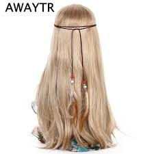 hippie hair accessories awaytr korean velvet feather hair band womens