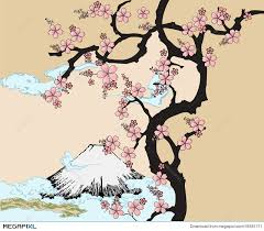 japanese design with fuji mountain and sakua tree illustration