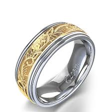 mens wedding rings white gold vintage scroll design men s wedding ring in 14k two tone white gold