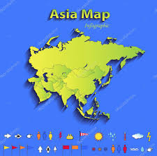 Political Map Asia by Asia Map Infographic Political Map Individual States Blue Green