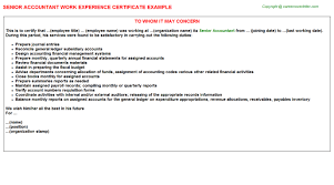 senior accountant work experience certificate