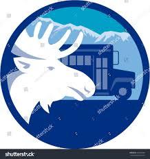 illustration moose head viewed side set stock vector 493916986