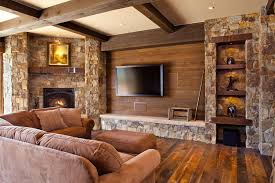 Country Family Room With Stone Fireplace By Kogan Builders - Country family rooms