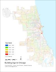 Chicago City Limits Map by Concentric Zones Of Building Age In Chicago The Geographic