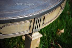 shizzle design antique round coffee table with old world patina