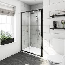 mode carter ensuite suite with 6mm black shower door 1200mm