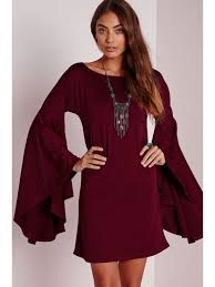 solid color scoop neck bell sleeve dress wine red long sleeve