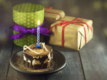 chocolate birthday cake with candle stock photo image 620540
