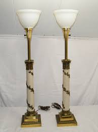 pair of vintage 1950 u0027s antique stiffel torchiere brass table lamps