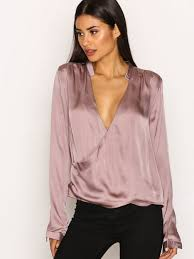 wrap shirts blouses wrap me blouse nly trend light pink blouses shirts