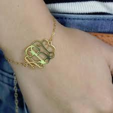 monogram initial bracelet sterling silver monogram initial bracelet custom jewelry