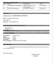 resume format for fresher