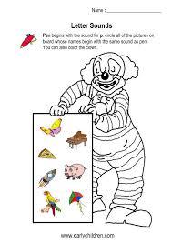 letter sounds worksheets for kindergarten