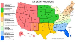 Central United States Map by Service Area Angel Flight South East
