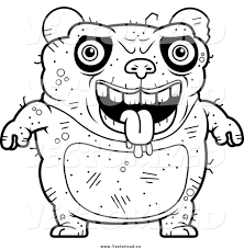 royalty free clipart of a black and white drooling ugly panda by