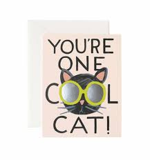 cool cat greeting card by rifle paper co made in usa