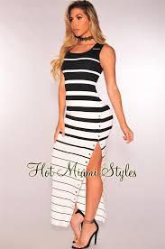 black white striped button down slit maxi dress