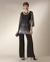 suit dress glaring black twe pieces of the dresses with pant