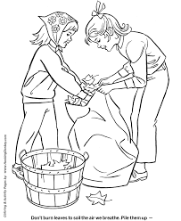 bagging fall leaves coloring kids coloring page sheets of the