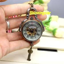 woman necklace watch images Steampunk glass antique bronze automatic pendant watch necklace jpg