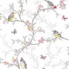 phoebe birds wallpaper white 98080 amazon co uk diy u0026 tools