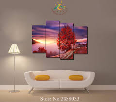 popular landscape canvas art wall decor winter buy cheap landscape 1 3 4 5 pieces winter red trees modern home wall decor painting