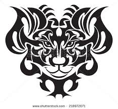 lion face tattoo design vintage engraved stock vector 218972071