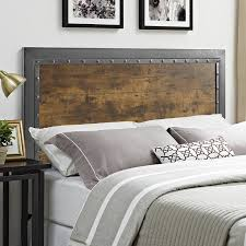 Wood And Metal Bed Frame 17 Stories Alanha Industrial Wood And Metal Panel Headboard