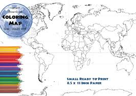 World Map Coloring Page World Map Coloring Page Black U0026 White Map Countries Outline