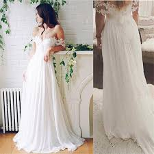 flowy wedding dresses simple white lace chiffon wedding dresses flowy simple