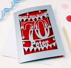 70th Birthday Cards Personalised Papercut 70th Birthday Card By Pogofandango