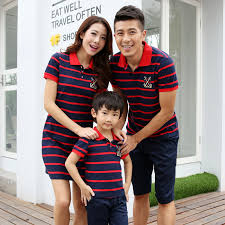 2016 new dress striped family set family matching clothing
