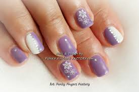 lilac flowers shellac nails funky fingers factory