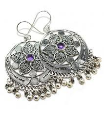 jhumka earrings earrings designer faceted purple amethyst gemstone silver earring