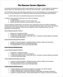 Career Objectives Samples For Resume by Sample Resume Objective 9 Examples In Pdf