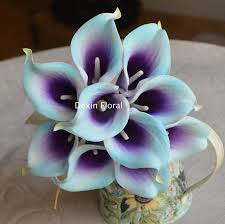 picasso calla 10 light aqua blue purple picasso calla lilies real touch flowers