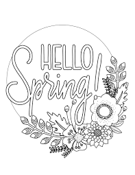 printable spring coloring page over the big moon