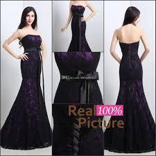 ful mermaid wedding gowns black and purple lace wedding dress