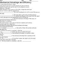 simple machines mechanical advantage worksheet free worksheets