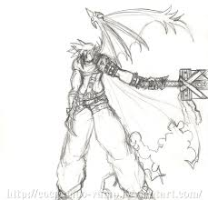 cloud strife kh sketch by cocoamoo vamp on deviantart