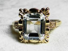 aquamarine ring art deco engagement ring vintage ring 2 9 carat
