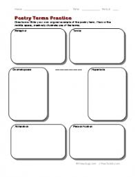 poetry terms practice worksheet freeology