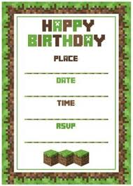 mine craft invitation template minecraft birthday invitation