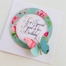 to a special friend on birthday aqua floral design butterfly
