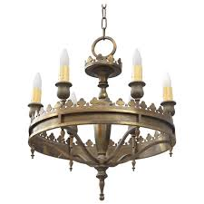 Tudor Chandelier 1920s Brass Six Light Chandelier For Tudor Homes