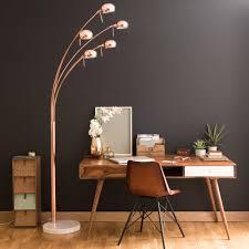 copper coloured metal floor lamp with 5 adjustable spotlights h